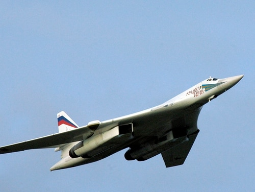 A Russian Tu-160 strategic bomber is shown in Murmansk in 2005. Two Russian Tu-160 Blackjack bombers approached the North American coastline on Saturday, Jan. 26, 2019, prompting a response from U.S. and Canadian forces. Late last year, the Russian military said two of its nuclear-capable strategic bombers had arrived in Venezuela, a deployment that came amid soaring Russia-U.S. tensions. (Alexei Panov/Sputnik, Kremlin Pool Photo via AP)