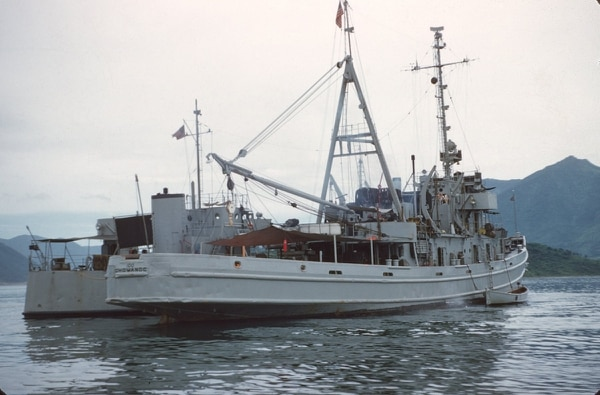 """Personnelman 1st Class Richard Harrison, aka """"The Old Man"""" on television's """"Pawn Stars"""" served his final sea tour onboard the fleet ocean-going salvage tug Chowanoc in the late 1960s, deploying to Vietnam and the western Pacific. (Navy)"""