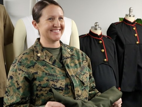 Maj. Calleen Kinney provides her assessment of the Marine Corps' modified maternity uniform items aboard Marine Corps Base Quantico, Virginia. (Tonya Smith/Marine Corps)