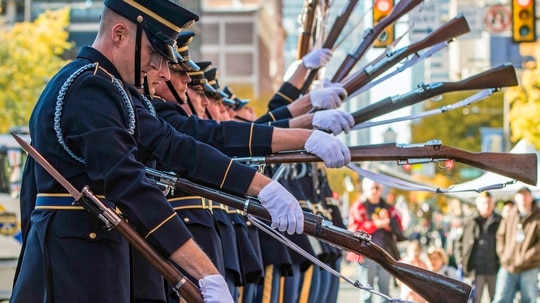 Soldiers assigned to the U.S. Army Drill Team, 4th Battalion, 3d U.S. Infantry Regiment (The Old Guard) perform after the conclusion of the 4th Annual Philadelphia Veterans Day Parade on Nov. 4, 2018. (Army)