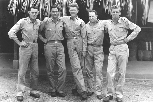 From left: Captain Bill Ivey, 2nd Lt. Sanford Price, Captain Edward Quintard, 1st Lt. Robert Crandall and Roddenberry pose outside the officers' club at Nadi. (Courtesy of Roddenberry Entertainment)