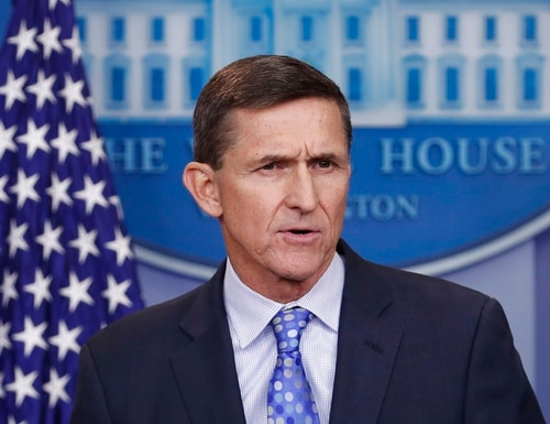 In this Feb. 1, 2017, photo, then-National Security Adviser Michael Flynn speaks during the daily news briefing at the White House, in Washington. Flynn is relaxed and hopeful even as the possibility of prison looms when he's sentenced in the Russia probe Tuesday. The retired three-star general pleaded guilty last year to lying to the FBI about conversations he had with the then-Russian ambassador to the U.S. during President Donald Trump's White House transition. (Carolyn Kaster/AP)