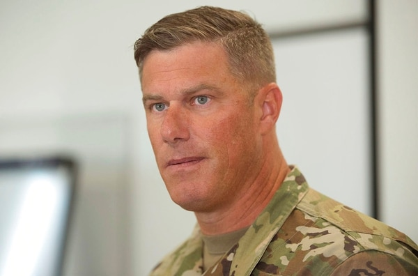 Letterkenny Army Depot Commander Col. Stephen Ledbetter leads a press conference about an explosion in a paint shop that injured workers Thursday, July 19, 2018, at Letterkenny Army Depot in Chambersburg, Pa. (Markell DeLoatch/Public Opinion via AP)
