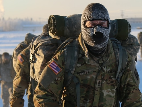 Arctic Tough 1st Sgt. Jonathan M. Emmett leads U.S. Army Alaska Aviation Task Force Soldiers assigned to Headquarters Company, 1-52 Aviation Regiment, at Fort Wainwright, Alaska, as they conduct Cold Weather Indoctrination Course II (CWIC) training November 19, 2015. These Soldiers completed a three-mile snow shoe ruck march to their bivouac site and spent the night sleeping in Arctic 10-man tents. CWIC training is required of all Soldiers assigned to U.S. Army Alaska annually to ensure America's Arctic Warriors have the knowledge and experience to survive, train, operate, fight and win in extreme cold weather and high altitude environments. (Photos by Spc. Liliana S. Magers, U.S. Army Alaska Public Affairs.)