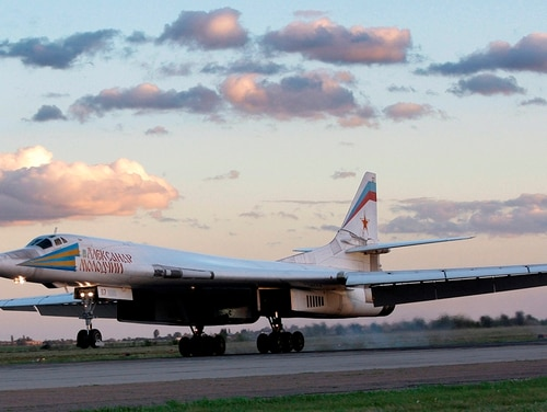 In this file photo from Sept. 12, 2008, Russia's strategic bomber Tu-160 or White Swan, the largest supersonic bomber in the world, lands at Engels Air Base near Saratov, about 700 kilometers (450 miles) southeast of Moscow. The Russian military says two of its nuclear-capable strategic bombers have arrived in Venezuela, a deployment that comes amid soaring Russia-U.S. tensions. (Misha Japaridze/AP)
