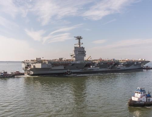 John F Kennedy CVN 79 Moves to Pier 3 (Newport News Shipbuilding)