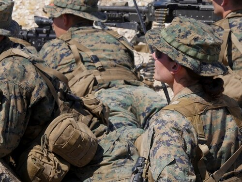 Marines participate in an exercise during the Infantry Officer Course at Marine Corps Air Ground Combat Center Twentynine Palms, Calif., Sept. 18, 2017. The first female Marine to complete the course graduated Sept. 25, 2017. (Sgt. Gregory Boyd/Marine Corps)