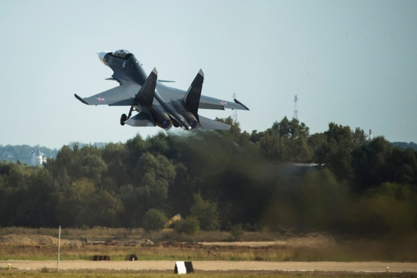Russian air force Su-30MKI fighter jet takes off during the MAKS-2015 International Aviation and Space Show in Zhukovsky, outside Moscow, Russia, Wednesday, Aug. 26, 2015. The XII International Aviation and Space Show in Zhukovsky opened Tuesday for specialists and press, with members of the public invited to visit it from Friday, Aug. 28. (AP Photo/Pavel Golovkin)