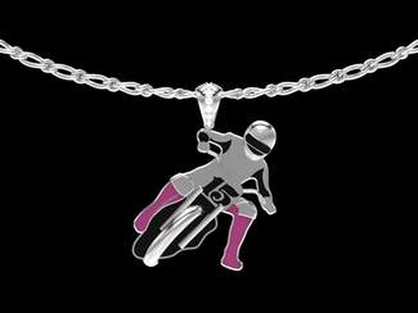 Your precious wearable could be of any bike with any accent color. (Thom Duma Fine Jewelry)