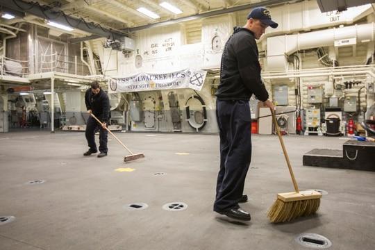 The 100-meter broom sweep would start the Even More Modern Pentathlon. (Navy)