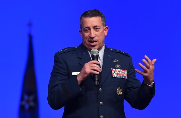 Lt. Gen. Brian Kelly, deputy chief of staff for manpower, personnel and services, speaks at the Air Force Association's Air, Space and Cyber conference Sept. 18. (Andy Morataya/Air Force)