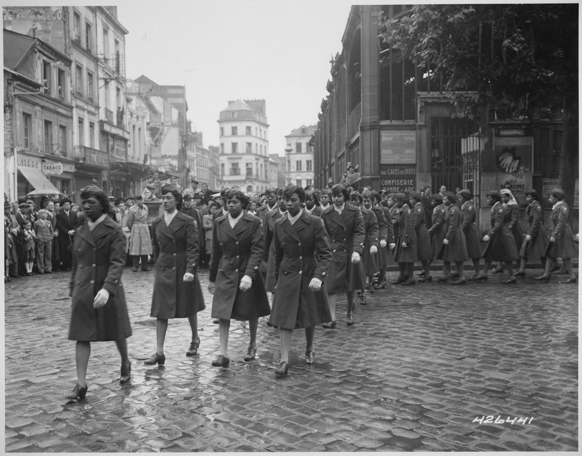 a49b6a7aaad Members of the 6888th Central Postal Directory Battalion take part in a May  27