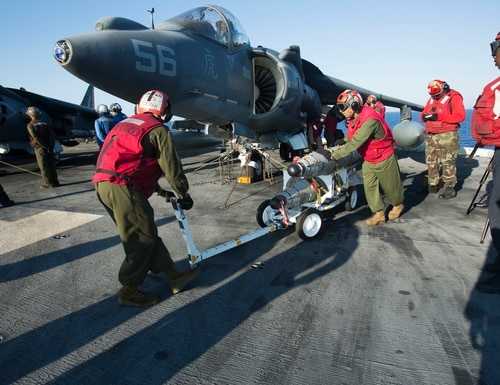 MEDITERRANEAN SEA (Aug. 1, 2016) Marines with 22nd Marine Expeditionary Unit (MEU), prepare an AV-8B Harrier II for launch on the flight deck of the amphibious assault ship USS Wasp (LHD 1) Aug. 1, 2016. 22nd MEU, embarked on the Wasp is conducting precision air strikes in support of the Libyan Government of National Accord-aligned forces against Daesh targets in Sirte, Libya as part of Operation Odyssey Lightning. (U.S. Marine Corps photo by Lance Cpl. Koby I. Saunders)
