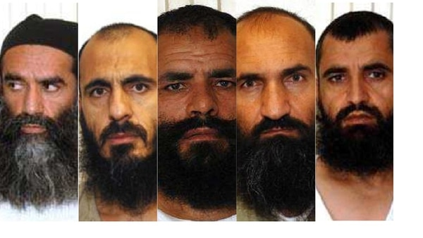 The five Guantanamo Bay detainees swapped for Sgt. Bowe Bergdahl are, from left, Mullah Norullah Noori, Mohammed Nabi Omari, Mohammed Fazl, Khairullah Khairkhwa and Abdul Haq Wasiq. (DoD)