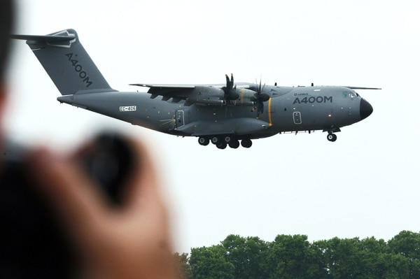 The Airbus A400M military transport plane prepares to land after a demonstration flight on June 15, 2015. (Remy de la Mauviniere/AFP via Getty Images)