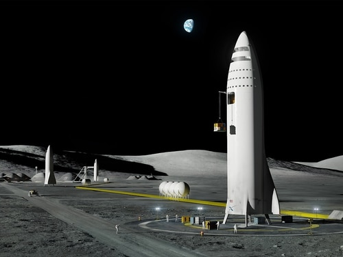 Concept art of SpaceX's reusable BFR rocket, shown here operating from the moon. But what if the Air Force used it to transfer cargo? (SpaceX)