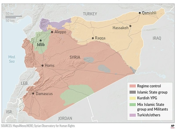 A look at regional control and influence in Syria.