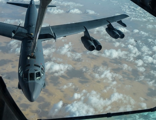 A KC-10 Extender refuels a U.S. Air Force B-52 Stratofortress mission over the U.S. Central Command area of responsibility, Jan. 17, 2021. (Senior Airman Aaron Larue Guerrisky/Air Force)