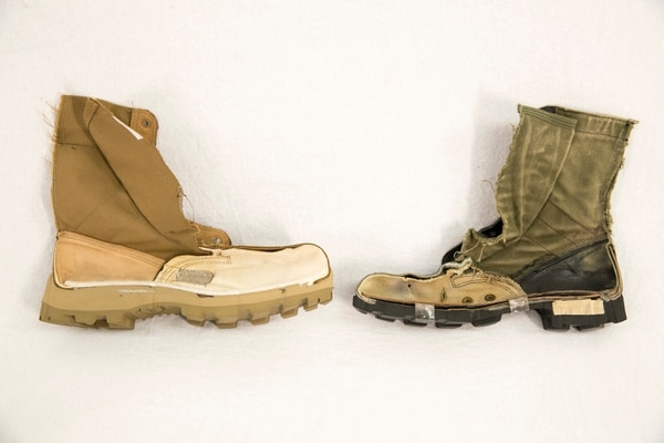 Cut-away of new Army Jungle Combat boot, left, and the old, Vietnam era jungle boot at right, show during a media round table about the new Army Jungle Combat Boot at Fort Belvoir in Springfield, Va., on Tuesday, February 28, 2017. (Alan Lessig/Staff)