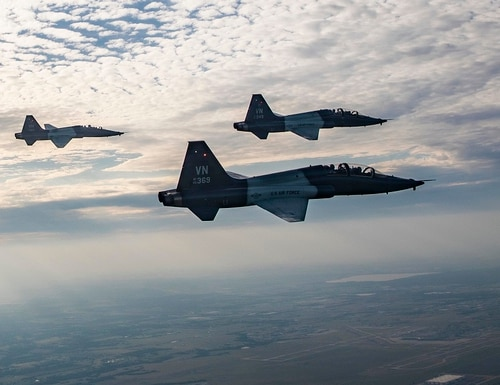 Pilots from the 5th and 25th Flying Training Squadrons fly T-38C Talons over Oklahoma in July. (Senior Airman Taylor Crul/Air Force)