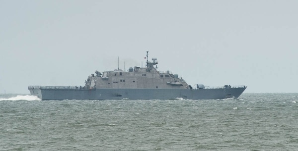 Norfolk, Va. (May 8, 2017) - The littoral combat ship Milwaukee departs Norfolk Naval Station after a two-day port visit in preparation for a full test of the LCS surface to surface mission module at sea, off the Virginia Coast. (photo by Mark D. Faram/staff)