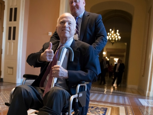 Sen. John McCain, R-Ariz., leaves a closed-door meeting with Republican leaders on Dec. 1, 2017. Officials from Vietnam Veterans of America are demanding an apology from the White House on McCain's behalf after a staffer there mocked his health. (J. Scott Applewhite/AP)