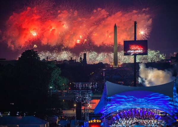 A view of the Mall and Independence Day fireworks as seen by the Wounded Warrior guests from the West Terrace of the US Capitol in Washington on July 4, 2019. (Rachel Lincoln of Lincoln Photography)