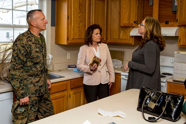 Lt. Gen. Charles G. Chiarotti, left, deputy commandant, installations and logistics, and Phyllis L. Bayer, center, assistant secretary of the Navy for energy, installations and the environment, tour privatized military housing with spouses during a visit to Marine Corps Base Camp Lejeune, N.C., Feb. 15, 2019. (Lance Cpl. Isaiah Gomez/Marine Corps)