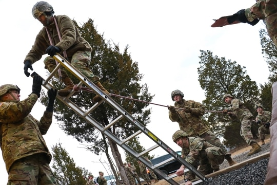 Candidates from cohort 5 attempt to traverse an obstacle at the Leader Reaction Course during the Battalion Commander Assessment Program January 23, 2020, at Fort Knox, Ky. (Staff Sgt. Daniel Schroeder/Army)