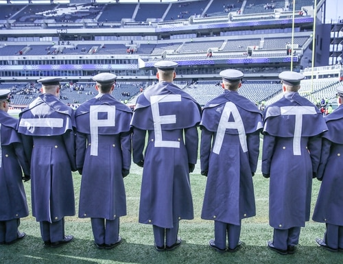 West Point cadets made it clear what the Black Knights were after against rival Navy. Mission accomplished. (J.D. Simkins/Staff)