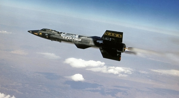 The North American Aviation X-15 rocket planes – designed to explore the problems of atmospheric and space flight at supersonic and hypersonic speeds – served as flying laboratories, carrying scientific experiments above the reaches of the atmosphere. (NASA)