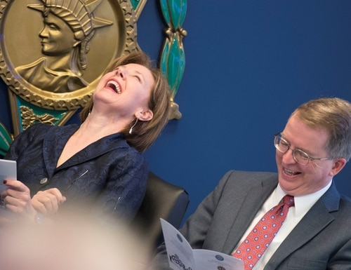 Deputy Secretary of Defense David Norquist, right, and then-Chief Management Officer Lisa Hershman share a laugh in May 2019. Norquist is now in charge of breaking up Hershman's office. (Lisa Ferdinando/U.S. Defense Department)