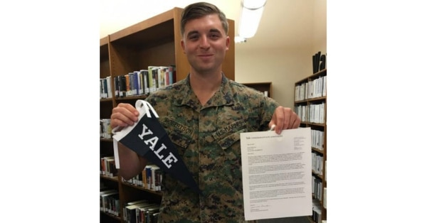 The nonprofit Service to School provides mentoring and counseling services to help service members and veterans, such as Bryan Robertson, get accepted to top-tier institutions. (Service to School)