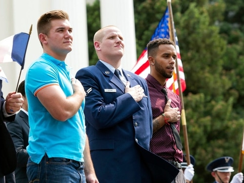 From left: Alek Skarlatos, Spencer Stone and Anthony Sadler will play themselves in The 15:17 to Paris movie about the 2015 terrorist attack the trio helped to thwart. (AP)