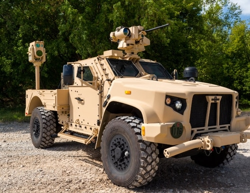 The Compact Laser Weapon System is a medium-range, low power device that soldiers and Marines can use to counter drones and other threats. (Boeing)