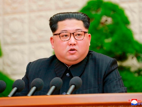 In this Friday, April 20, 2018, North Korean leader Kim Jong Un speaks during a meeting of the Central Committee of the Workers' Party of Korea, in Pyongyang, North Korea. (Korean Central News Agency/Korea News Service via AP)