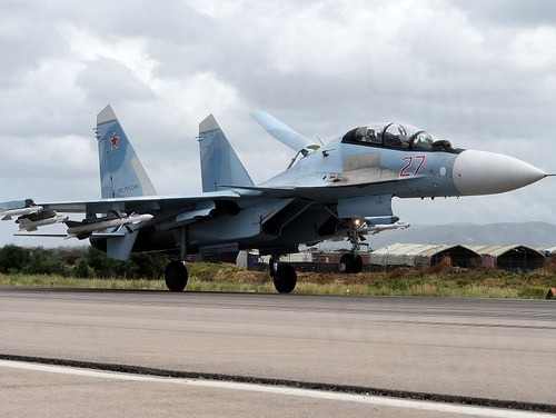 A Russian Sukhoi Su-35 bomber lands at the Russian Hmeimim military base in Latakia province of northwest Syria on May 4, 2016. (Vasily Maximov/AFP via Getty Images)