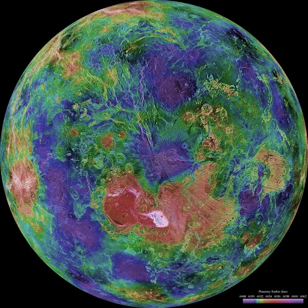 The hemispheric view of Venus, as revealed by more than a decade of radar investigations culminating in the 1990-1994 Magellan mission, is centered on the North Pole. The Magellan spacecraft imaged more than 98% of Venus at a resolution of about 100 meters; the effective resolution of this image is about 3 km. A mosaic of the Magellan images (most with illumination from the west) forms the image base. Gaps in the Magellan coverage were filled with images from the Earth-based Arecibo radar in a region centered roughly on 0 degree latitude and longitude, and with a neutral tone elsewhere (primarily near the south pole). (NASA/JPL/USGS)