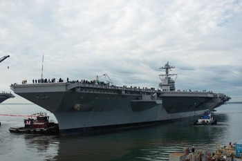 The aircraft carrier Ford's new arresting gear gets a stress test