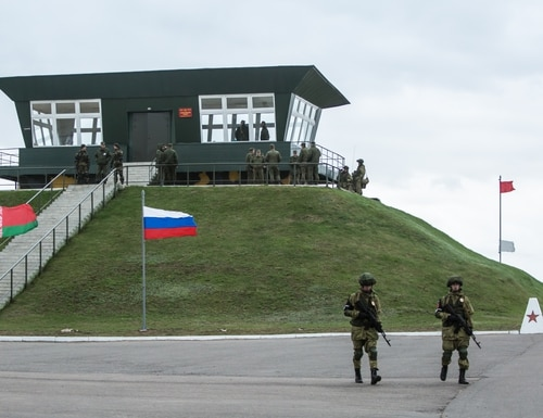 Russian military police patrol the Asipovichy military training ground during the 2017 iteration of the Zapad military exercises in Asipovichy, Belarus. (Brendan Hoffman/Getty Images)