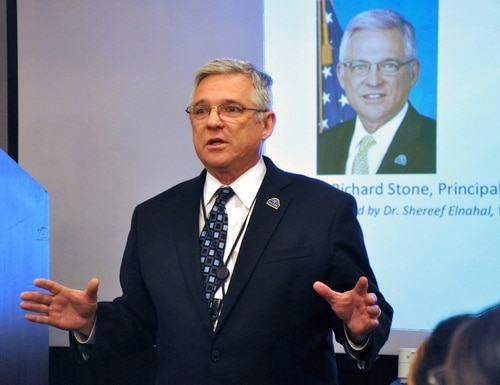 Dr. Richard Stone, who is stepping down from his post leading the Veterans Health Administration next month, speaks at planning summit in March 2016. (Kate Viggiano/VA)