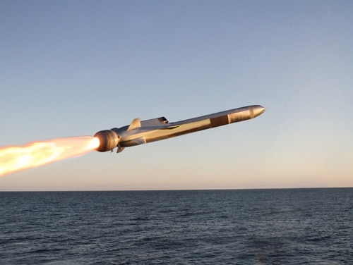 A Kongsberg image of its Naval Strike Missile, the U.S. Navy's new over-the-horizon anti-ship missile.