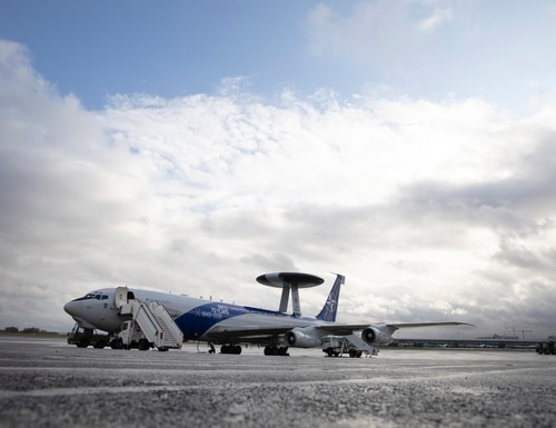 A NATO AWACS plane is parked on the runway at Melsbroek military airport in Melsbroek, Belgium, Wednesday, Nov. 27, 2019. (Virginia Mayo/AP)
