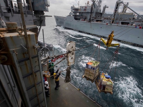 Sailors assigned to the Ticonderoga-class guided-missile cruiser Leyte Gulf receive pallets of supplies during a replenishment-at-sea with the fleet replenishment oiler Supply. Readiness issues plaguing resupply ships have created at-sea mission shortfalls. (MC2 Sonja Wickard/Navy)