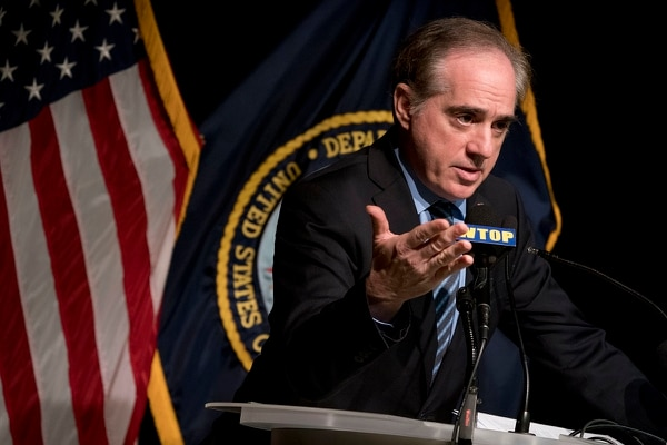 David Shulkin, then Veterans Affairs secretary, speaks at a news conference at the Washington Veterans Affairs Medical Center in Washington on March 7, 2018. Shulkin was fired on March 28. President Donald Trump named Robert Wilkie as acting VA secretary the same day. (Andrew Harnik/AP)