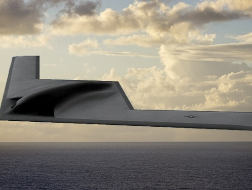 The B-21 is set to become operational in the mid 2020s, but little is known about this classified plane. (Design by Devan Feeny/Staff; Image by U.S. Air Force and Getty Images)