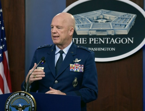 U.S. Space Force Chief of Space Operations Gen. John W. Raymond conducts a press briefing at the Pentagon on March 27, 2020. (Wayne Clark/U.S. Air Force)
