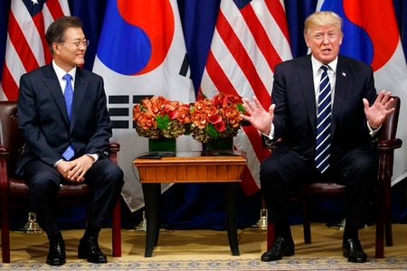 President Donald Trump speaks at a meeting with South Korean President Moon Jae-in at the Palace Hotel during the United Nations General Assembly, Thursday, Sept. 21, 2017, in New York. (Evan Vucci/AP)