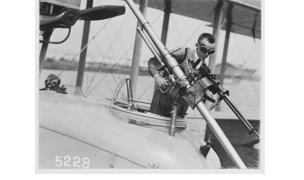 A Davis Gun mounted on F-5-L, Naval Aircraft Factory, Philadelphia, Aug. 2, 1918. That's a Lewis Aircraft Type machine gun with it. (U.S. Naval History and Heritage Command)