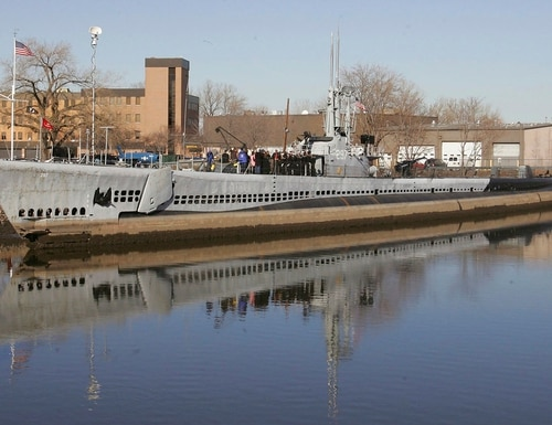 The USS Ling, a World War II-era submarine docked at the New Jersey Naval Museum in Hackensack, N.J., was vandalized earlier this year. (Rich Schultz/AP)